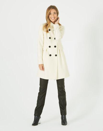 Jasmin wool mix ecru coat with high collar (2) - 1-2-3
