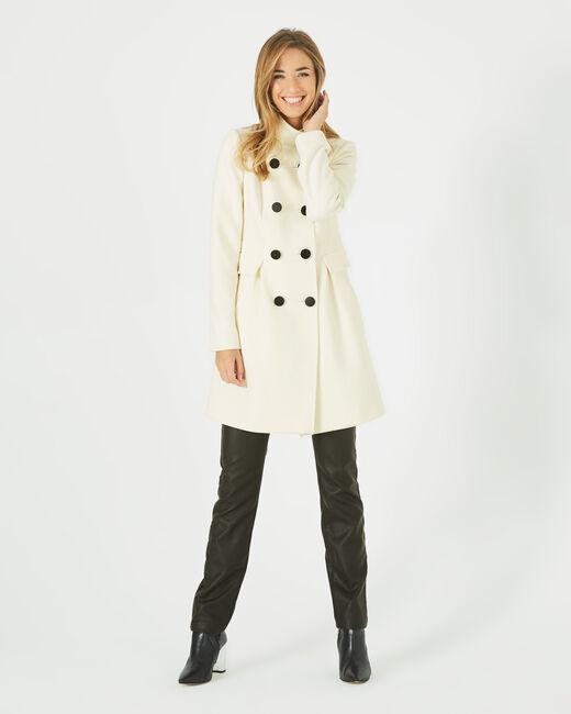 Manteau écru en laine mélangée col montant Jasmin (1) - 1-2-3