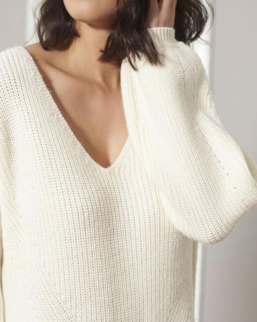 Pull écru oversize laine mélangée Blanche (2) - 1-2-3