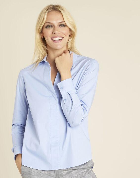 Cyrielle azure blue poplin shirt PhotoZ | 1-2-3