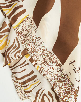 Karamellfarbenes seidenhalstuch mit fantasie-print abba karamell.