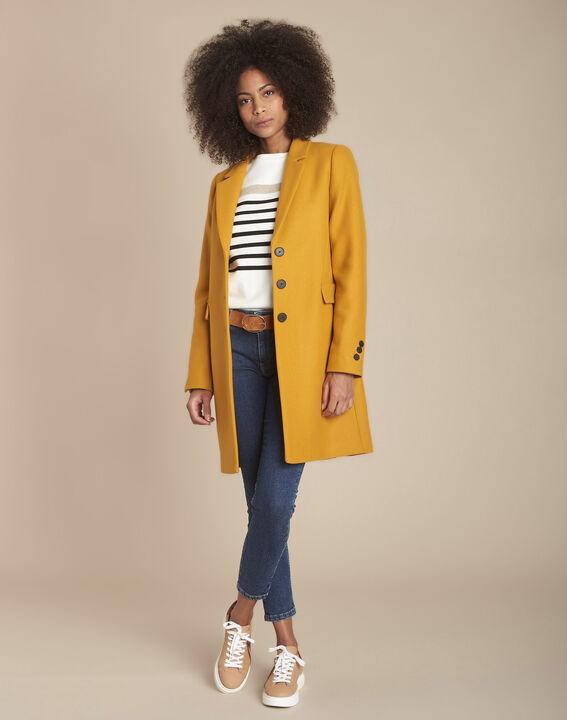 Manteau jaune droit laine mélangée Plume (2) - 1-2-3