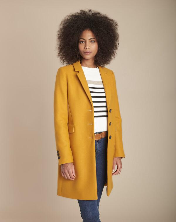 Manteau jaune droit laine mélangée Plume (1) - 1-2-3