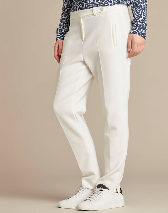 Lara slim-cut tailored ecru trousers (2) - 1-2-3
