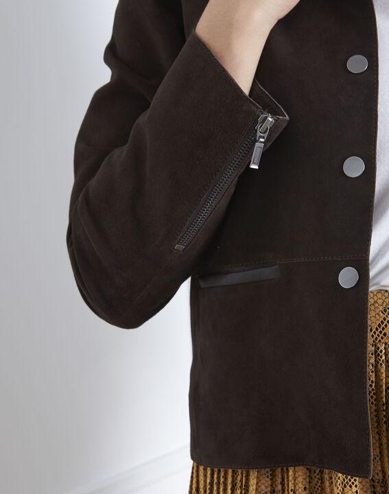 Veste marron cuir velours Thea (3) - 1-2-3