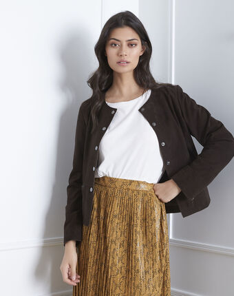 Thea suede jacket in chestnut brown dark brown.
