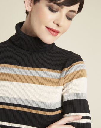 Barthe black striped sweater with polo-neck black.