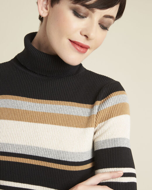 Barthe black striped sweater with polo-neck (1) - 1-2-3