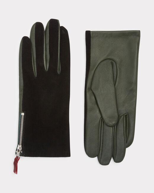 Gants bimatière vert et noir Zelie (1) - 1-2-3