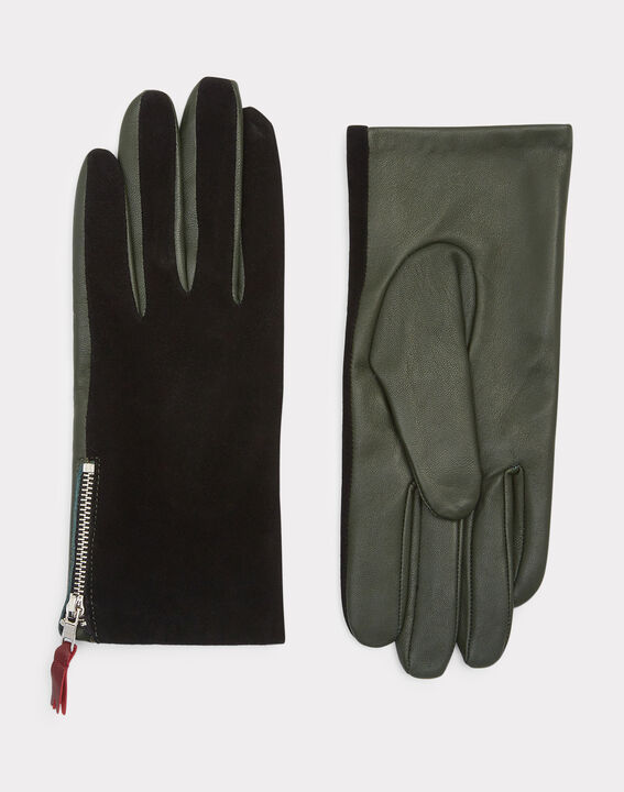 Zelie dual-fabric green and black gloves (2) - 1-2-3