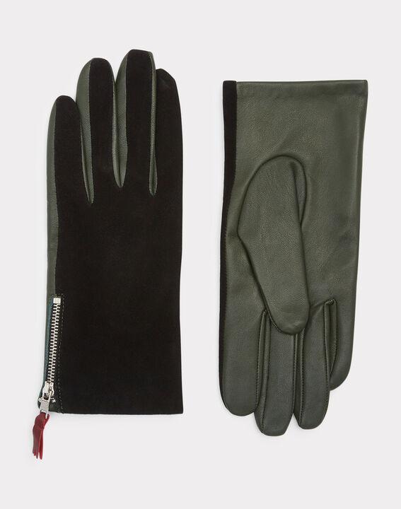 Gants bimatière vert et noir Zelie (2) - 1-2-3