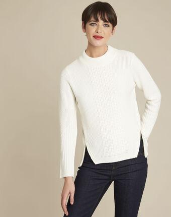 Pull blanc col montant laine mélangée brindille blanc casse.