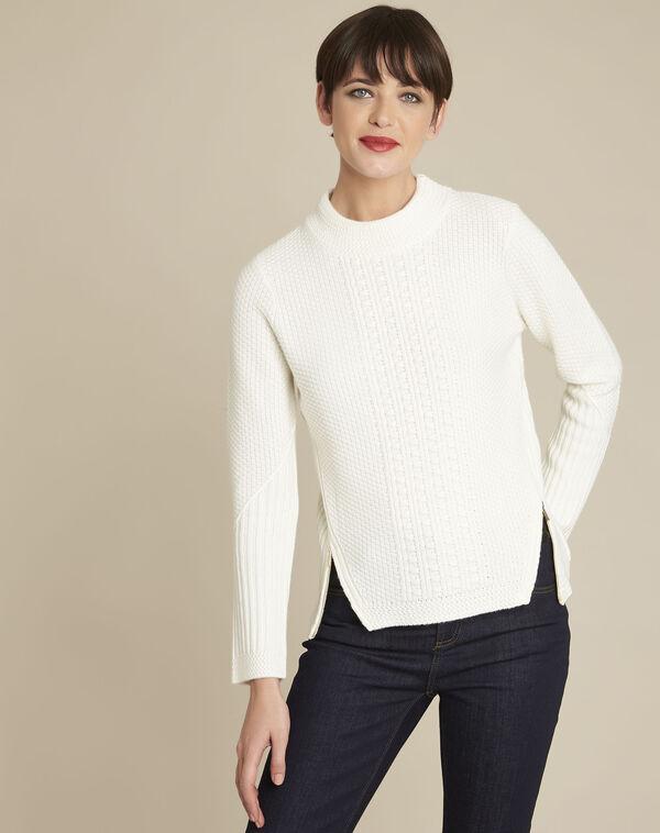 Witte trui met hoge kraag van gemengd wol Brindille (1) - 37653