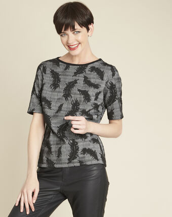 Grace grey blouse with feather print mid chine.