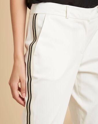 Pantalon blanc cigarette bande côté francis blanc casse.