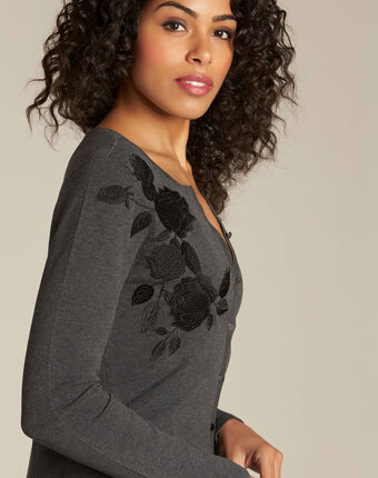 Nora grey embroidered cardigan mid chine.