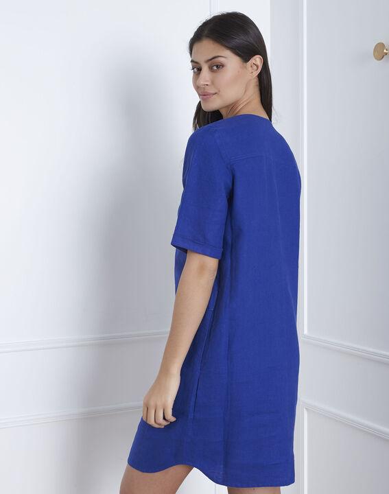 Robe bleue en lin Loanne (4) - Maison 123