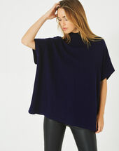 Passiflore navy cashmere cape with polo neck navy.