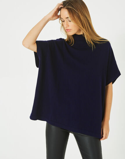 Passiflore navy cashmere cape with polo neck (2) - 1-2-3