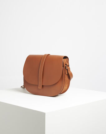 Delinda dual-fabric camel shoulder bag camel.
