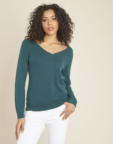 Pivoine forest green V-neck sweater in cashmere (1) - 1-2-3