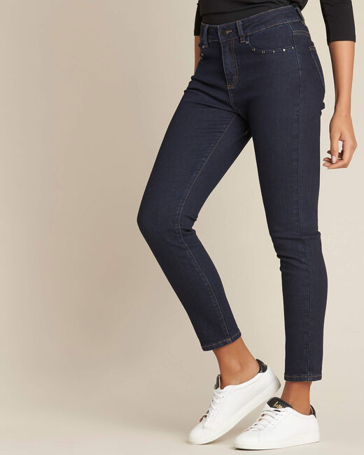 Vendôme slim-cut navy blue jeans with studded pockets (2) - 1-2-3