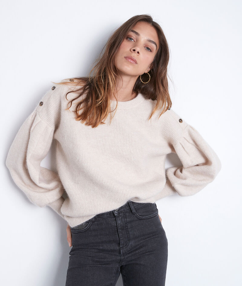 Pull Terry beige manches bouffantes PhotoZ | 1-2-3