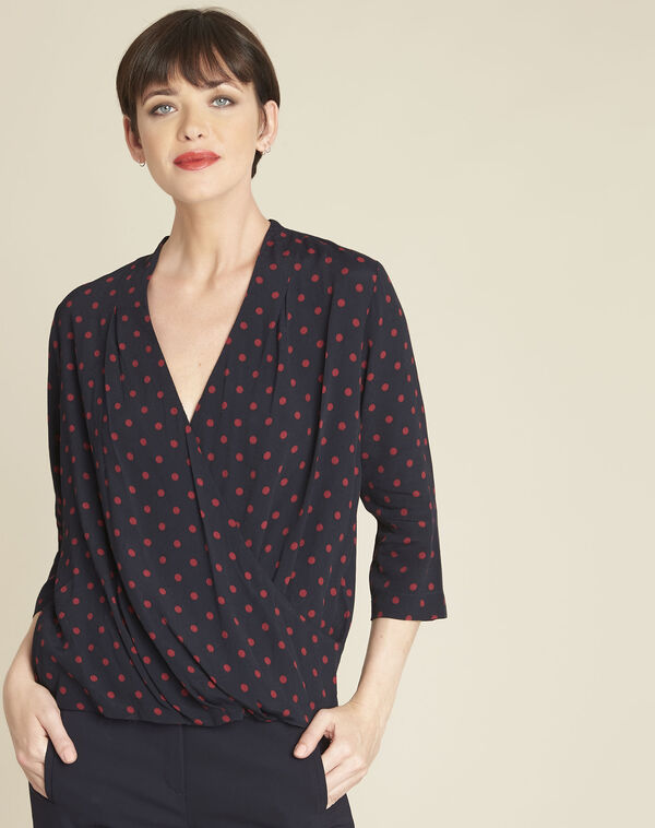 Calme navy polka dot crossover blouse (1) - 1-2-3