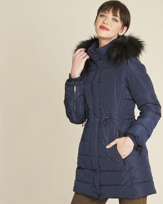 Perrine navy faux fur hooded down jacket (2) - 1-2-3