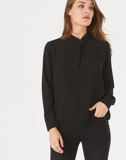 Schwarze Hemdbluse mit Schmuckdetail Darling (3) - 1-2-3