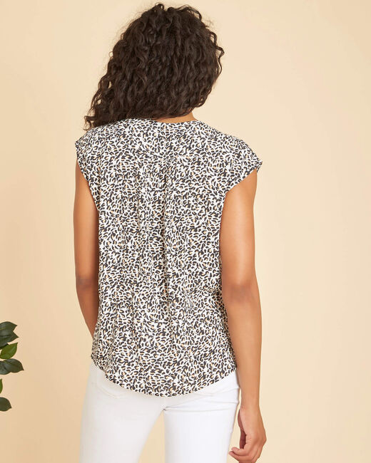 Gaiete black blouse with an animal hide print  (2) - 1-2-3