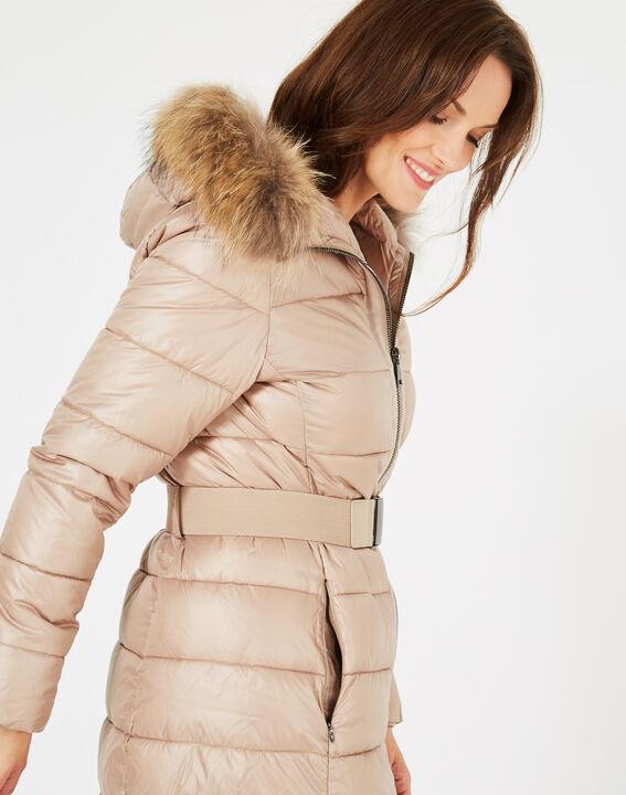 Louna long beige puffer jacket with faux fur (4) - 1-2-3
