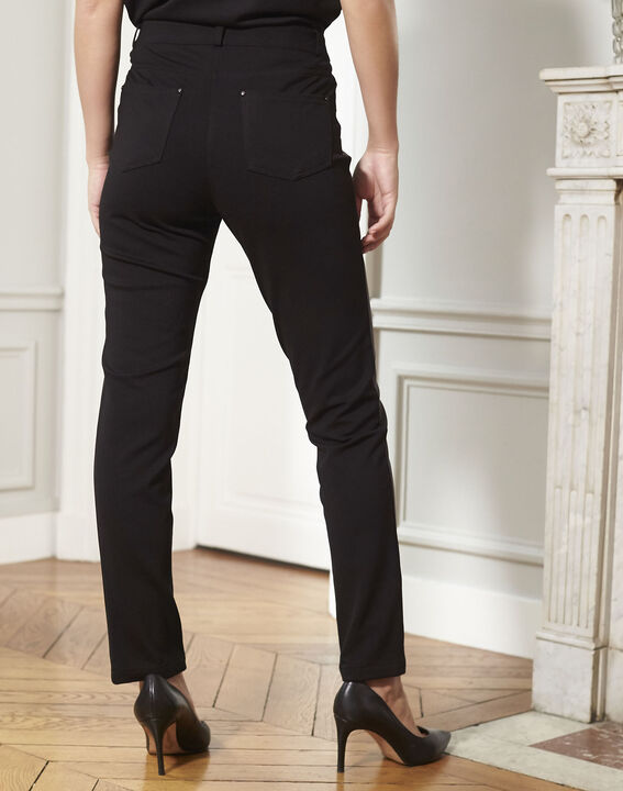Hectotrine black slim-fit trousers in milano fabric (4) - 1-2-3