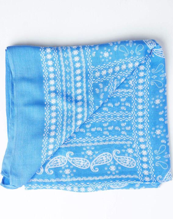 Amor bandana print sky blue scarf PhotoZ | 1-2-3