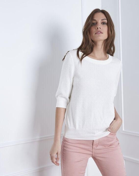 Gebrochen weißes T-Shirt mit Schleifendetail Adriana (2) - Maison 123