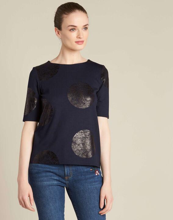 Tee-shirt bleu marine imprimé pois Bonnie (3) - 1-2-3