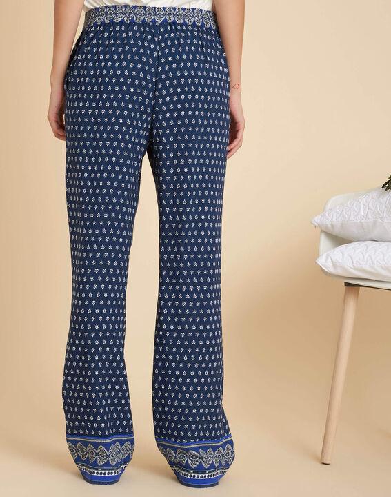 Pantalon bleu large imprimé Siroma (4) - 1-2-3