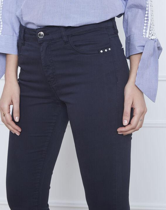Marineblaue 7/8-Jeans Slim Fit Baumwollsatin Vendome (4) - Maison 123