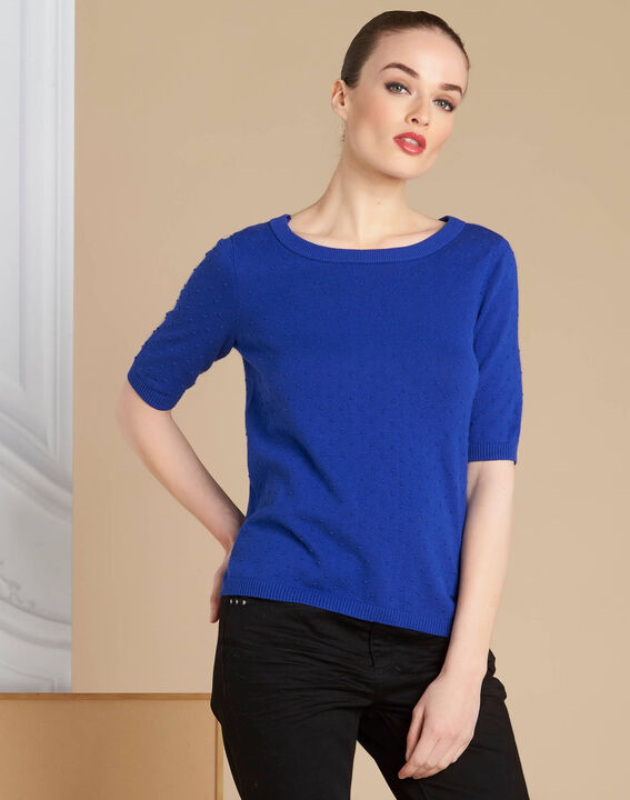Nadia royal blue sweater with bow detail on the back (3) - 1-2-3