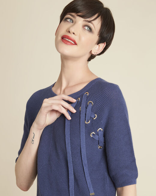 Boreale blue sweater with lacing and eyelets (1) - 1-2-3