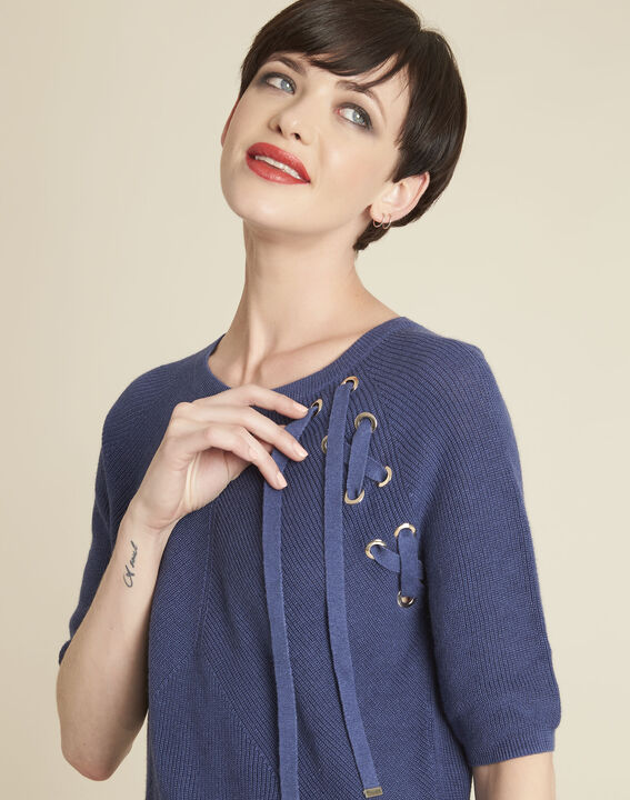Boreale blue sweater with lacing and eyelets (2) - 1-2-3