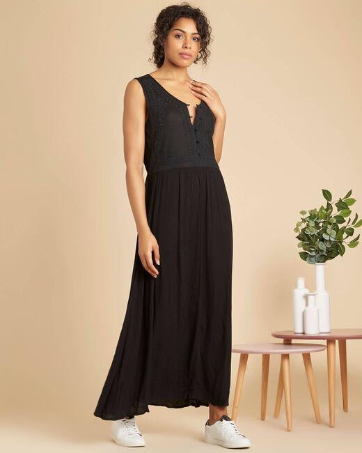 Robe noire longue brodée Pirogue (2) - 1-2-3