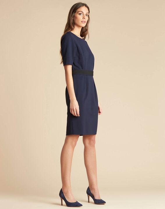 Marineblaues tailliertes Kleid mit Gürtel Pam (3) - 1-2-3