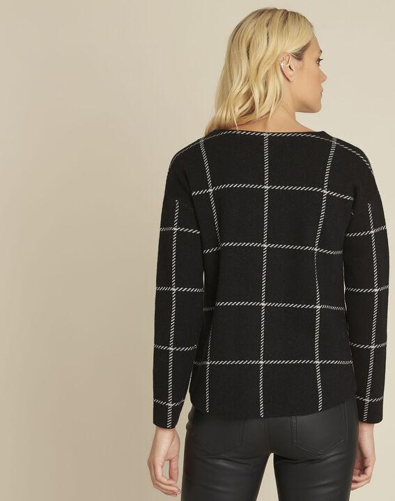 Pull noir rayé en laine mélangée British (4) - 1-2-3