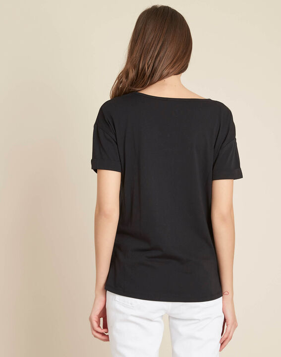 Schwarzes T-Shirt mit Blumenprint Erable (4) - 1-2-3