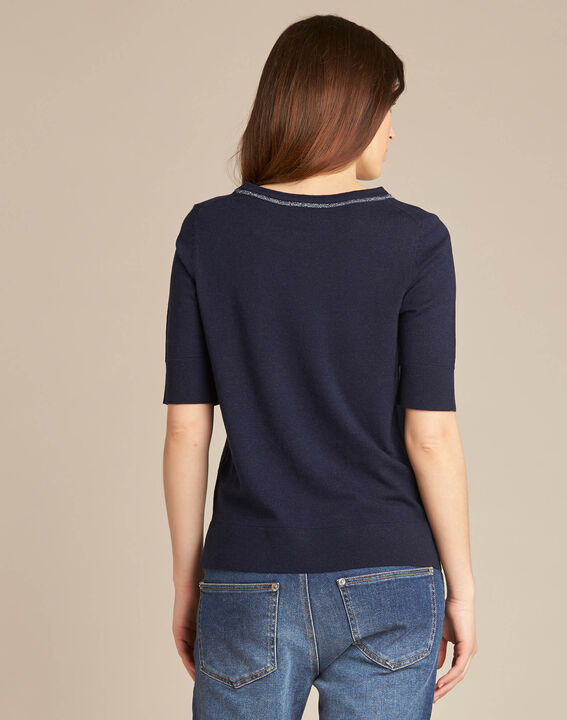 Nevada navy blue short-sleeved sweater in wool and silk (4) - 1-2-3