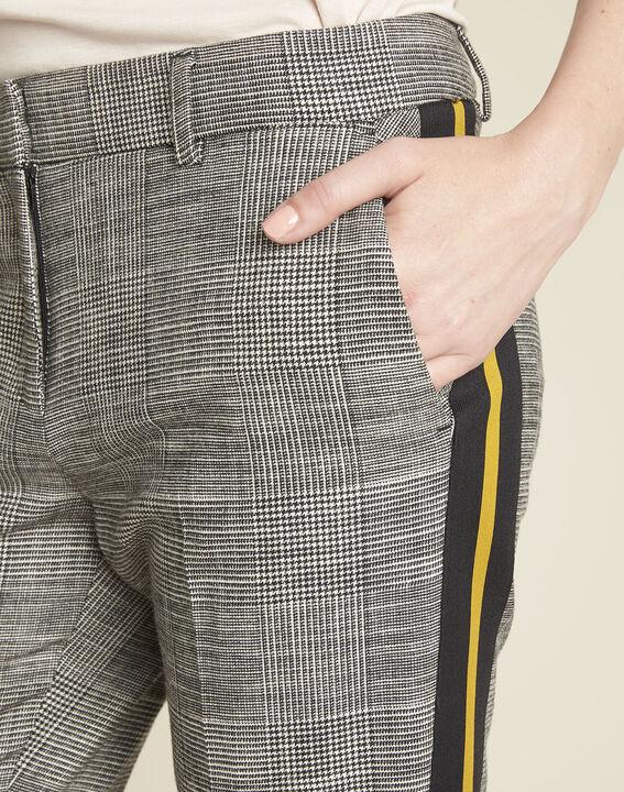 Pantalon gris cigarette jacquard bande côté Hansel (3) - 1-2-3