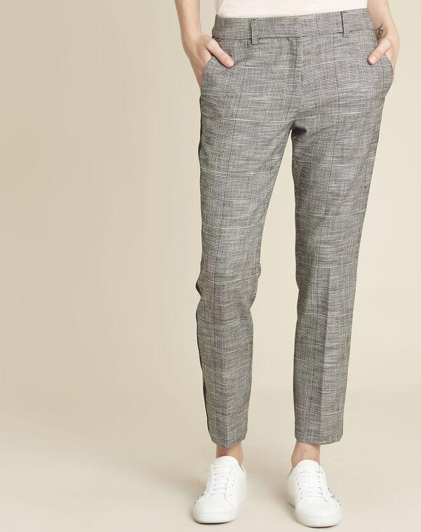 Pantalon gris cigarette jacquard bande côté Hansel (1) - 1-2-3