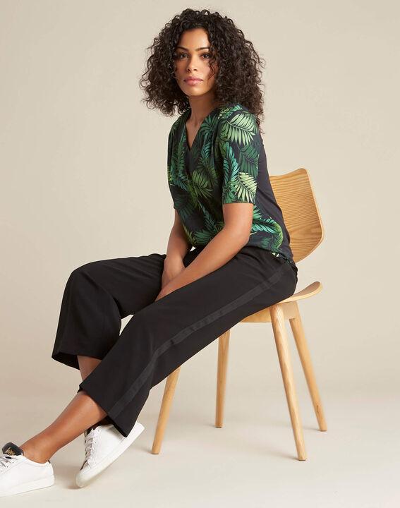 Miledine palm tree print dual-fabric blouse (2) - 1-2-3