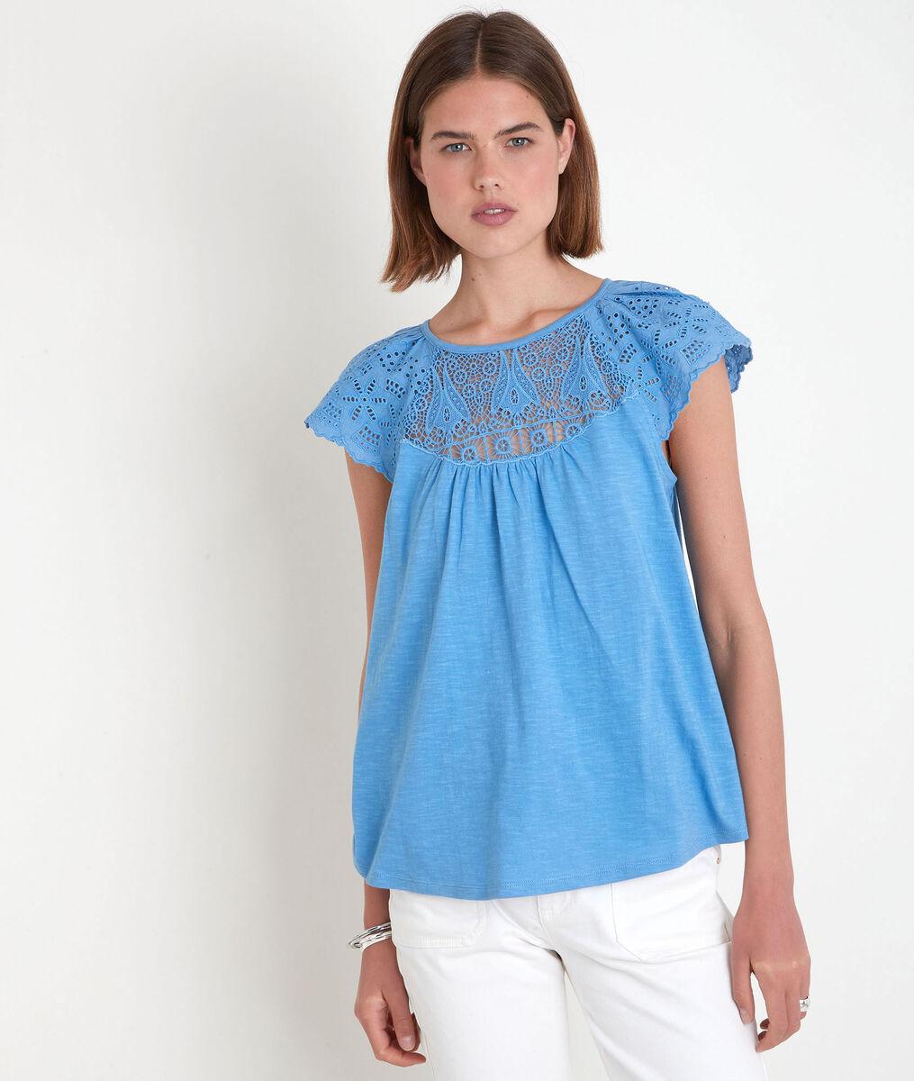 Tee-shirt en coton et dentelle bleu Ecume PhotoZ   1-2-3